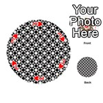 Modern Dots In Squares Mosaic Black White Playing Cards 54 (Round)  Front - Heart3