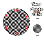 Modern Dots In Squares Mosaic Black White Playing Cards 54 (Round)  Front - Heart4