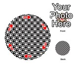 Modern Dots In Squares Mosaic Black White Playing Cards 54 (Round)  Front - Heart9