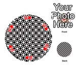 Modern Dots In Squares Mosaic Black White Playing Cards 54 (Round)  Front - Heart10