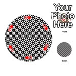 Modern Dots In Squares Mosaic Black White Playing Cards 54 (Round)  Front - HeartQ