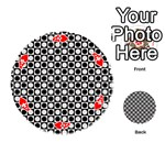 Modern Dots In Squares Mosaic Black White Playing Cards 54 (Round)  Front - HeartA