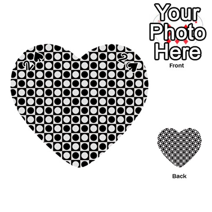 Modern Dots In Squares Mosaic Black White Playing Cards 54 (Heart)