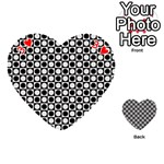 Modern Dots In Squares Mosaic Black White Playing Cards 54 (Heart)  Front - Heart3