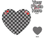 Modern Dots In Squares Mosaic Black White Playing Cards 54 (Heart)  Front - Heart5