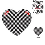 Modern Dots In Squares Mosaic Black White Playing Cards 54 (Heart)  Front - Heart10