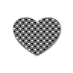 Modern Dots In Squares Mosaic Black White Rubber Coaster (Heart)  Front
