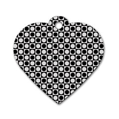 Modern Dots In Squares Mosaic Black White Dog Tag Heart (Two Sides)