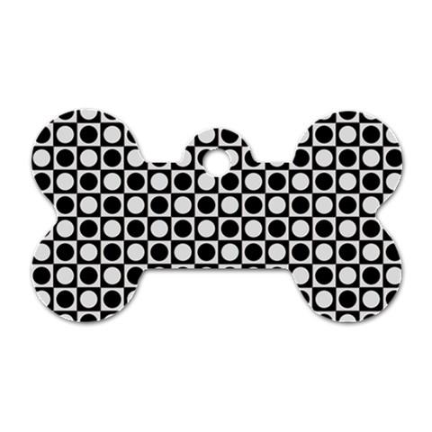 Modern Dots In Squares Mosaic Black White Dog Tag Bone (One Side)