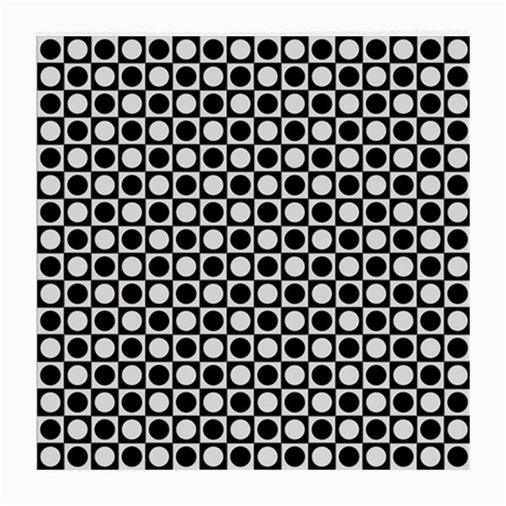 Modern Dots In Squares Mosaic Black White Medium Glasses Cloth (2-Side)