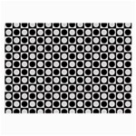 Modern Dots In Squares Mosaic Black White Large Glasses Cloth (2-Side) Back
