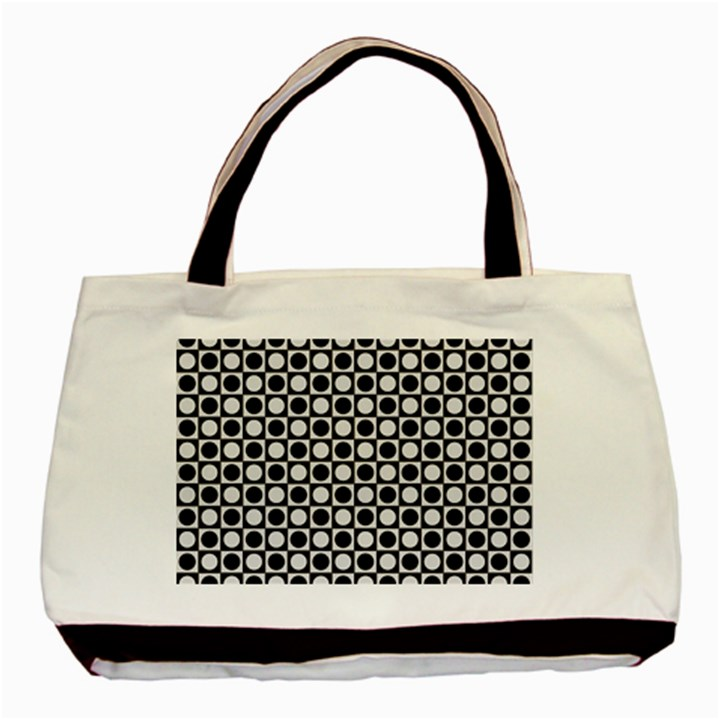 Modern Dots In Squares Mosaic Black White Basic Tote Bag (Two Sides)