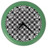 Modern Dots In Squares Mosaic Black White Color Wall Clocks Front