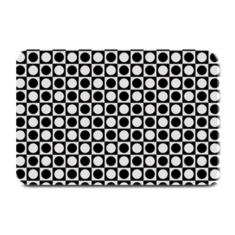 Modern Dots In Squares Mosaic Black White Plate Mats
