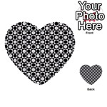 Modern Dots In Squares Mosaic Black White Multi-purpose Cards (Heart)  Back 45