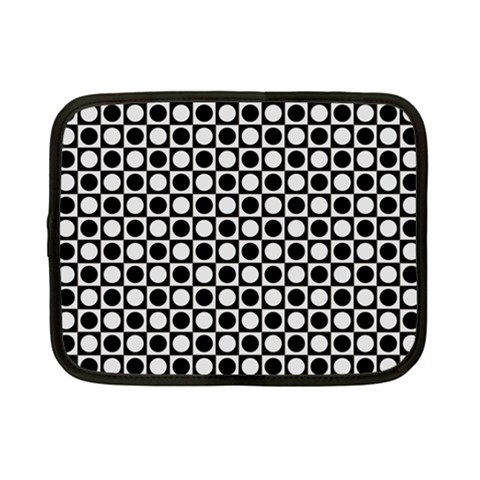 Modern Dots In Squares Mosaic Black White Netbook Case (Small)