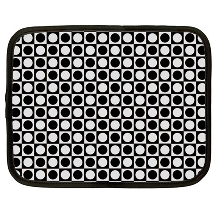 Modern Dots In Squares Mosaic Black White Netbook Case (Large)