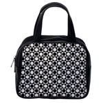 Modern Dots In Squares Mosaic Black White Classic Handbags (One Side) Front