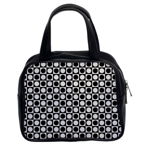 Modern Dots In Squares Mosaic Black White Classic Handbags (2 Sides)