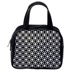 Modern Dots In Squares Mosaic Black White Classic Handbags (2 Sides) Back
