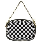 Modern Dots In Squares Mosaic Black White Chain Purses (One Side)  Front
