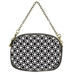 Modern Dots In Squares Mosaic Black White Chain Purses (Two Sides)  Front