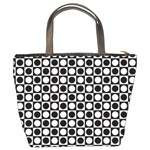 Modern Dots In Squares Mosaic Black White Bucket Bags Back