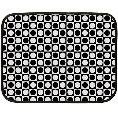 Modern Dots In Squares Mosaic Black White Fleece Blanket (Mini)