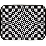 Modern Dots In Squares Mosaic Black White Fleece Blanket (Mini) 35 x27 Blanket
