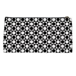Modern Dots In Squares Mosaic Black White Pencil Cases Back