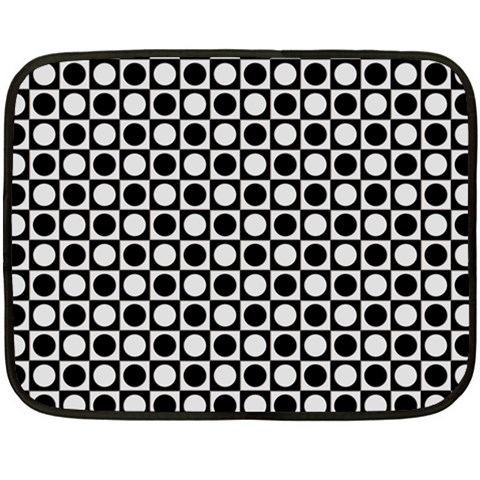 Modern Dots In Squares Mosaic Black White Double Sided Fleece Blanket (Mini)