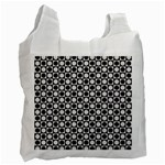 Modern Dots In Squares Mosaic Black White Recycle Bag (Two Side)  Front