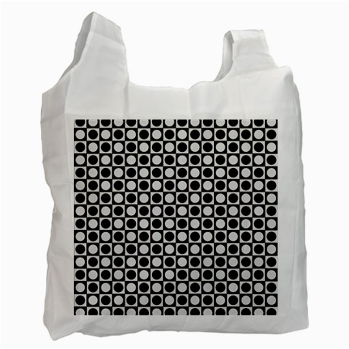 Modern Dots In Squares Mosaic Black White Recycle Bag (Two Side)