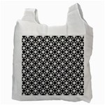 Modern Dots In Squares Mosaic Black White Recycle Bag (Two Side)  Back