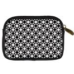 Modern Dots In Squares Mosaic Black White Digital Camera Cases Back