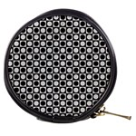 Modern Dots In Squares Mosaic Black White Mini Makeup Bags Front