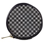 Modern Dots In Squares Mosaic Black White Mini Makeup Bags Back