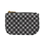 Modern Dots In Squares Mosaic Black White Mini Coin Purses Front