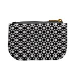 Modern Dots In Squares Mosaic Black White Mini Coin Purses Back