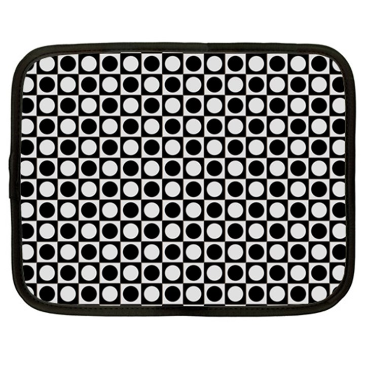 Modern Dots In Squares Mosaic Black White Netbook Case (XXL)