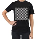 Modern Dots In Squares Mosaic Black White Women s T-Shirt (Black) Front