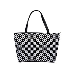 Modern Dots In Squares Mosaic Black White Shoulder Handbags