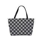 Modern Dots In Squares Mosaic Black White Shoulder Handbags Back