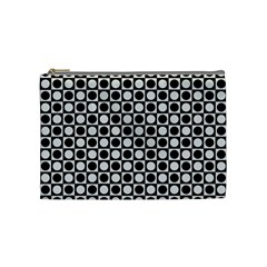 Modern Dots In Squares Mosaic Black White Cosmetic Bag (Medium)