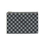 Modern Dots In Squares Mosaic Black White Cosmetic Bag (Medium)  Front