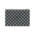 Modern Dots In Squares Mosaic Black White Cosmetic Bag (Medium)  Back