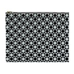 Modern Dots In Squares Mosaic Black White Cosmetic Bag (XL) Front