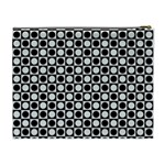 Modern Dots In Squares Mosaic Black White Cosmetic Bag (XL) Back