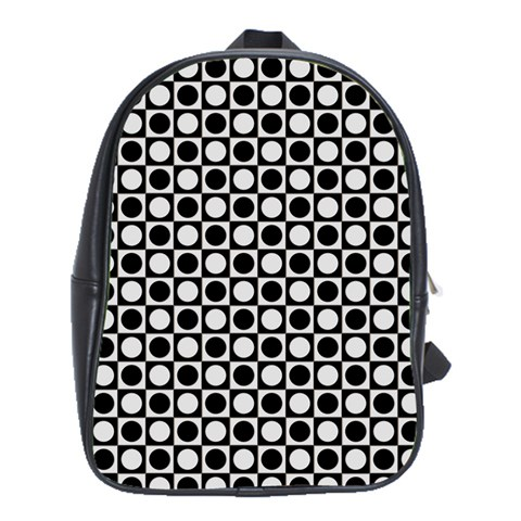 Modern Dots In Squares Mosaic Black White School Bags(Large)