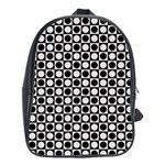 Modern Dots In Squares Mosaic Black White School Bags(Large)  Front